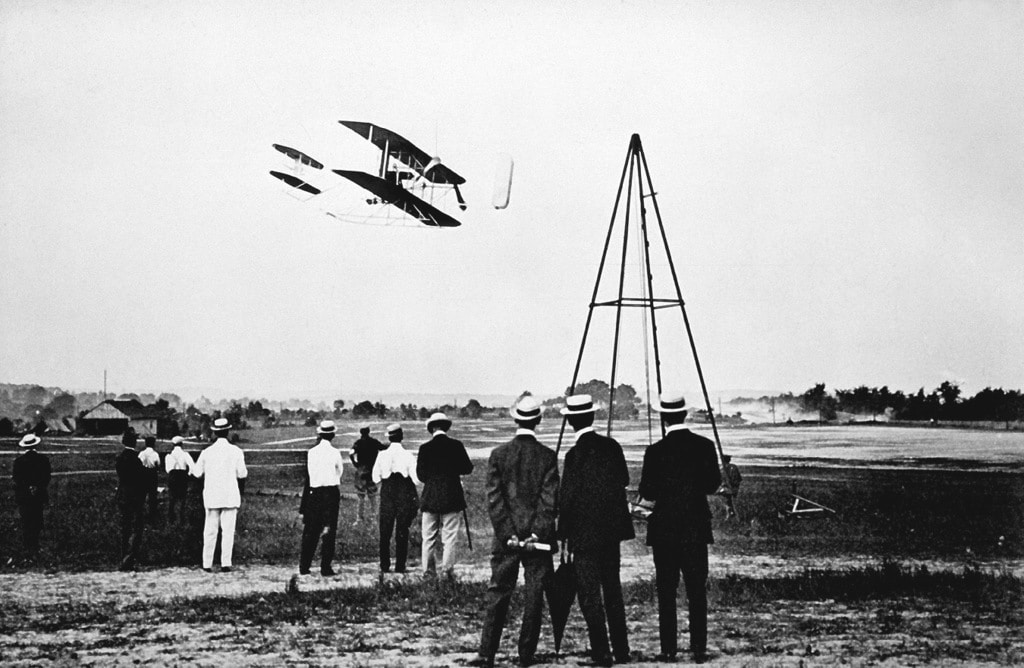 The Wright Brothers test fly their aircraft
